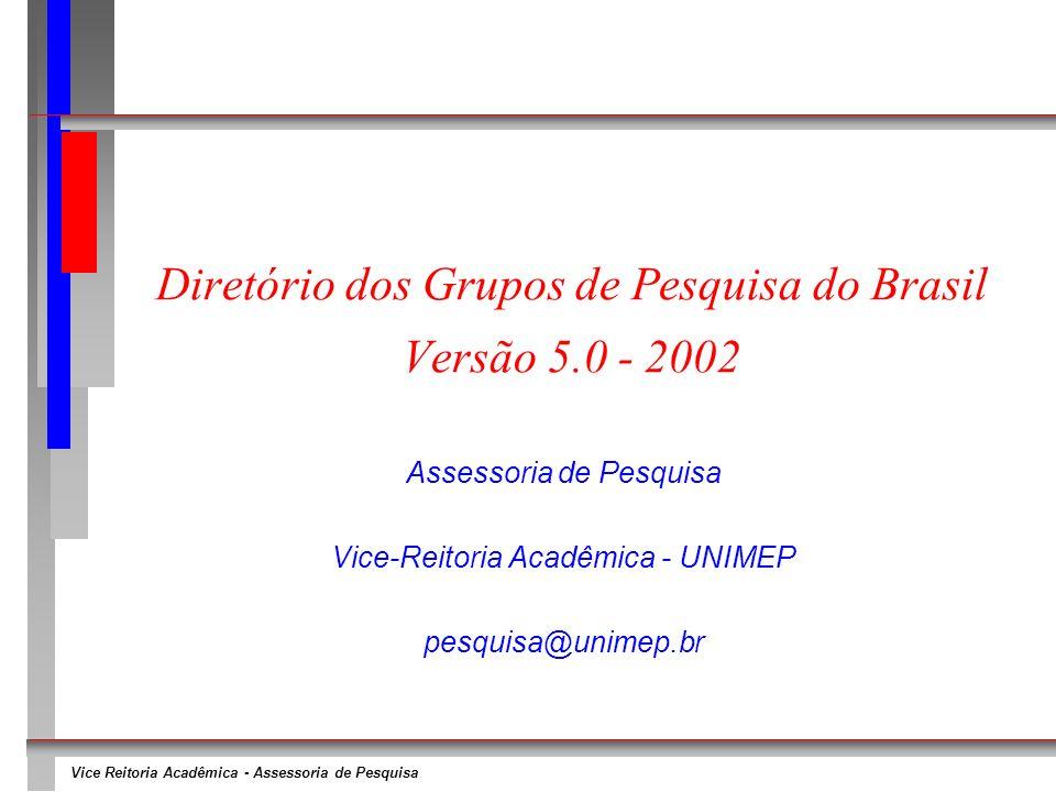 Vice Reitoria Acadêmica - Assessoria de Pesquisa Diretório dos Grupos de Pesquisa do Brasil Versão 5.0 - 2002 Assessoria de Pesquisa Vice-Reitoria Acadêmica - UNIMEP pesquisa@unimep.br