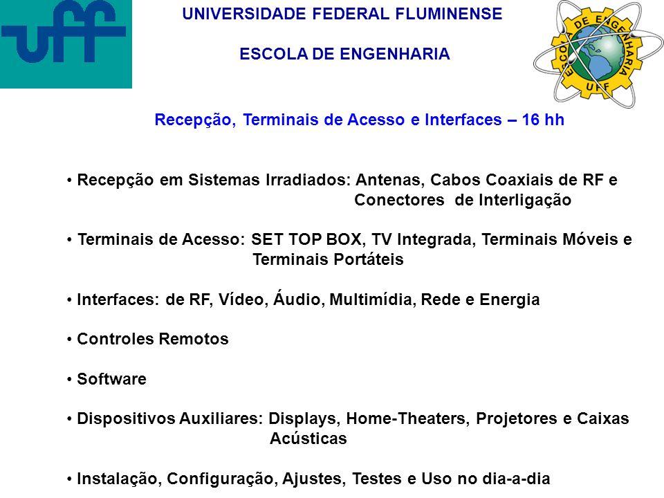 UNIVERSIDADE FEDERAL FLUMINENSE ESCOLA DE ENGENHARIA Recepção, Terminais de Acesso e Interfaces – 16 hh Recepção em Sistemas Irradiados: Antenas, Cabo