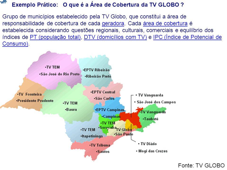 Exemplo Prático: O que é a Área de Cobertura da TV GLOBO ? Grupo de municípios estabelecido pela TV Globo, que constitui a área de responsabilidade de