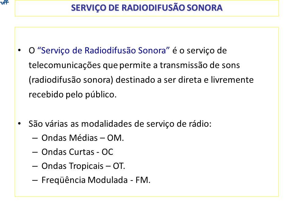 SERVIÇO DE RADIODIFUSÃO SONORA O Serviço de Radiodifusão Sonora é o serviço de telecomunicações que permite a transmissão de sons (radiodifusão sonora