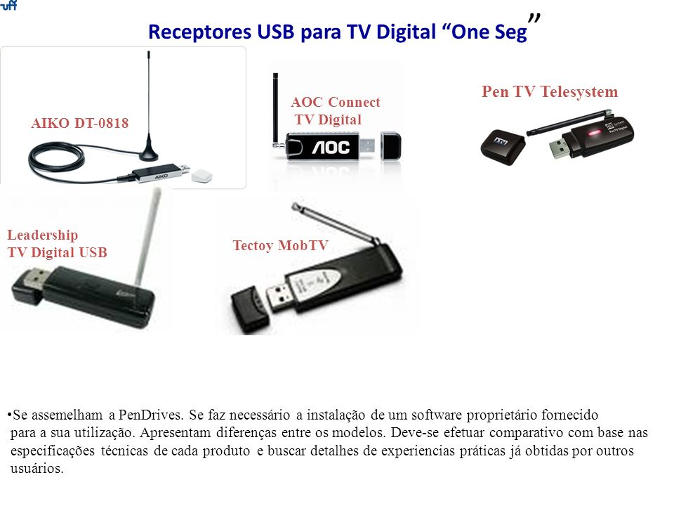 Receptores USB para TV Digital One Seg AOC Connect TV Digital AIKO DT-0818 Pen TV Telesystem Leadership TV Digital USB Tectoy MobTV Se assemelham a Pe