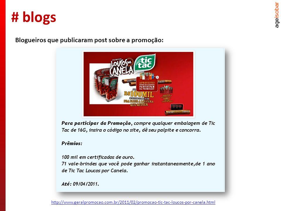 http://www.geralpromocao.com.br/2011/02/promocao-tic-tac-loucos-por-canela.html Blogueiros que publicaram post sobre a promoção: # blogs