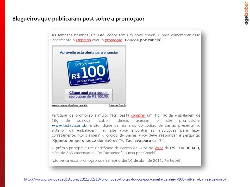 http://www.promocao2010.com/2011/02/10/promocao-tic-tac-loucos-por-canela-ganhe-r-100-mil-em-barras-de-ouro/ Blogueiros que publicaram post sobre a pr