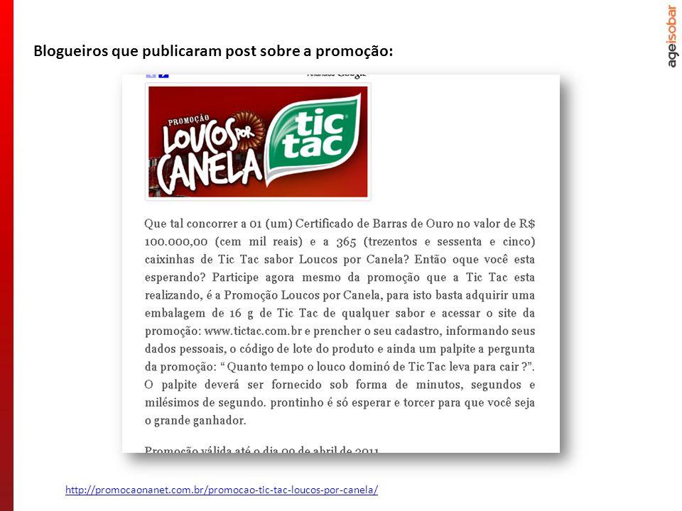 http://promocaonanet.com.br/promocao-tic-tac-loucos-por-canela/ Blogueiros que publicaram post sobre a promoção: