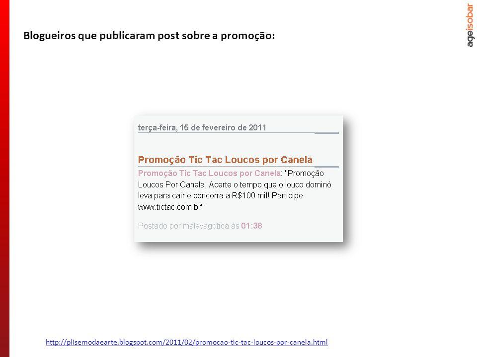 http://plisemodaearte.blogspot.com/2011/02/promocao-tic-tac-loucos-por-canela.html Blogueiros que publicaram post sobre a promoção:
