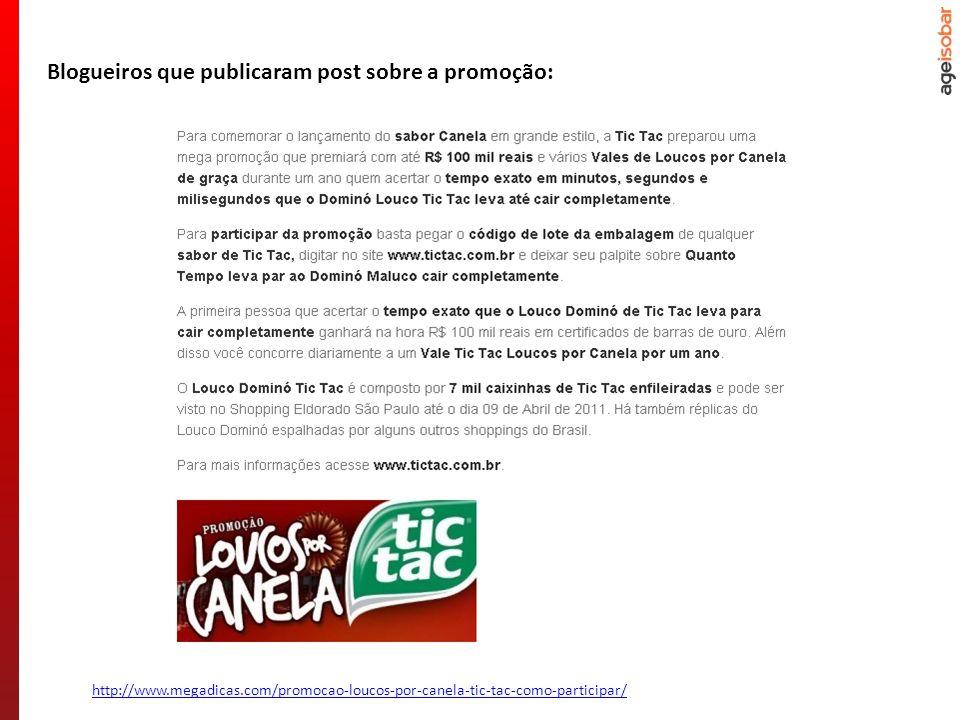 http://www.megadicas.com/promocao-loucos-por-canela-tic-tac-como-participar/ Blogueiros que publicaram post sobre a promoção: