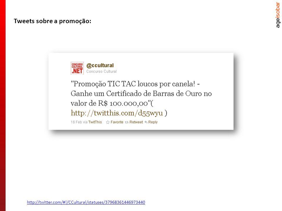 http://twitter.com/#!/CCultural/statuses/37968361446973440 Tweets sobre a promoção: