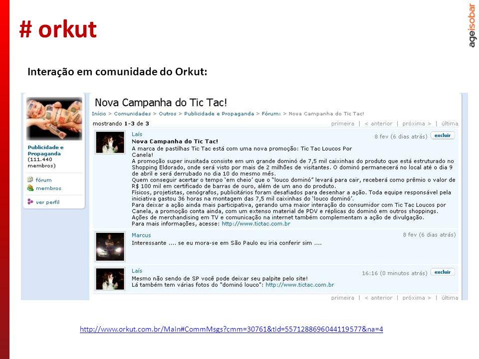 Nº de comunidades do seeding: 122 Nº de comunidades que excluíram o tópico: 1 Nº de comunidades com interação: 1 Nº de interações: 1 Resultados: # orkut