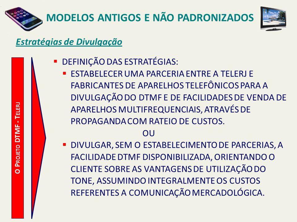 MODELOS ANTIGOS E NÃO PADRONIZADOS O Regime de Parceria - Telerj O P ROJETO DTMF - T ELERJ DISPONIBILIZAR O SERVIÇO 0800 E LINHAS NECESSÁRIAS, DE FORMA GRATUITA, PARA CADA PARCEIRO, QUE SERÃO UTILIZADAS PARA A COMERCIALIZAÇÃO DE APARELHOS TELEFÔNICOS.
