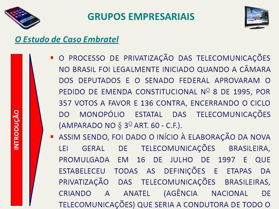 INTRODUÇÃO O Estudo de Caso Embratel EM 30 DE JANEIRO DE 1998 FOI REALIZADA A ASSEMBLEIA GERAL EXTRAORDINÁRIA NAS VINTE E SEIS DAS VINTE E SETE EMPRESAS LOCAIS QUE COMPUNHAM O SISTEMA TELEBRÁS (HOLDING), COM O OBJETIVO DE CRIAÇÃO DE VINTE E SEIS SOCIEDADES SUBSIDIÁRIAS DE TELEFONIA MÓVEL CELULAR.