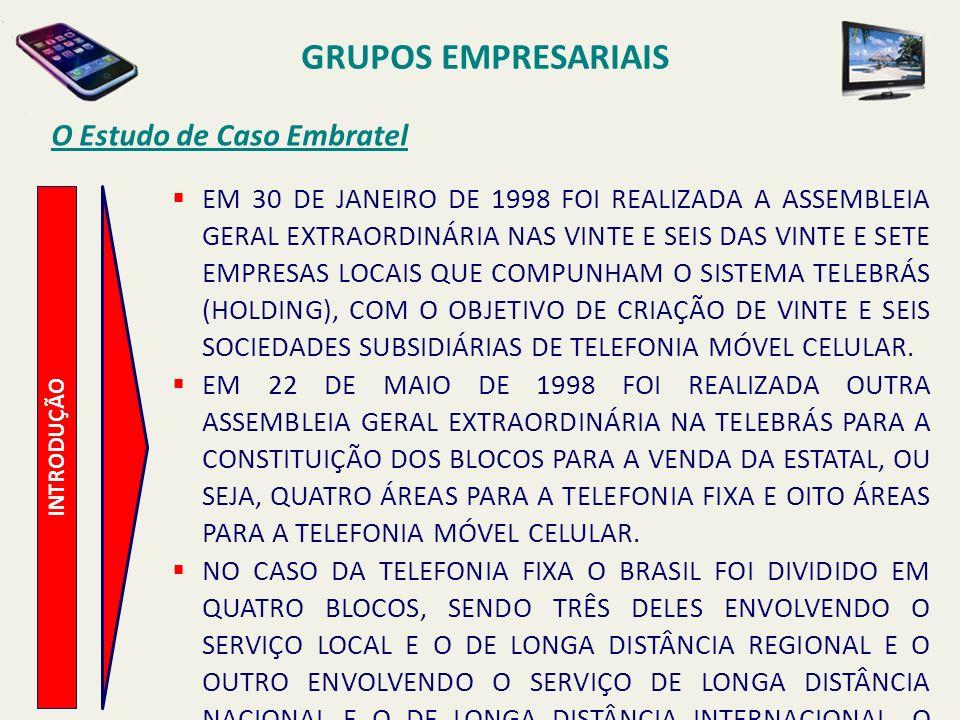 INTRODUÇÃO O Estudo de Caso Embratel O LEILÃO DA PRIVATIZAÇÃO FOI REALIZADO NA BOLSA DE VALORES DO RIO DE JANEIRO EM 29 DE JULHO DE 1998 E A ÁREA QUATRO DA TELEFONIA FIXA FOI ARREMATADA PELO GRUPO NORTE-AMERICANO MCI PELO PREÇO DE US$ 2,65 BILHÕES DE DÓLARES, CORRESPONDENDO A UM ÁGIO DE 47% SOBRE O PREÇO MÍNIMO ESTIPULADO PELO GOVERNO BRASILEIRO.