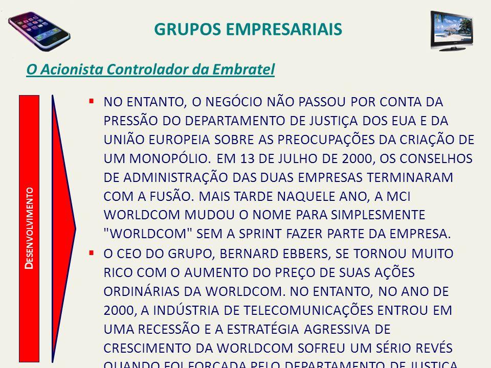 D ESENVOLVIMENTO O Acionista Controlador da Embratel NESSA ÉPOCA, O PREÇO DAS AÇÕES DA WORLDCOM ESTAVA DIMINUINDO E EBBERS FICOU SOB UMA CRESCENTE PRESSÃO DOS BANCOS PARA COBRIR SUAS AÇÕES DA WORLDCOM, CUJO VALOR TINHA SIDO USADO PARA FINANCIAR SEUS OUTROS NEGÓCIOS (MADEIRA E IATISMO, DENTRE OUTROS).