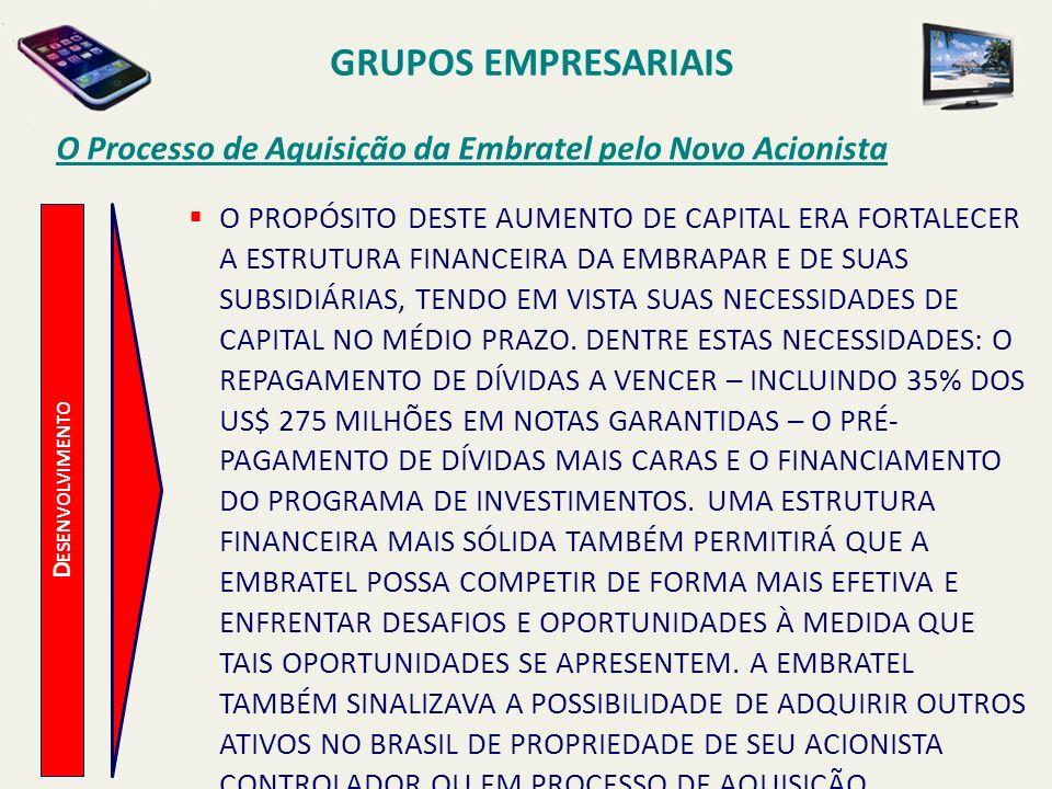 D ESENVOLVIMENTO Principais Medidas para a Recuperação da Embratel NOS ANOS SUBSEQUENTES DA AQUISIÇÃO DA EMBRATEL PELO NOVO ACIONISTA, AS PRINCIPAIS AÇÕES NO PROCESSO DE REORGANIZAÇÃO DA EMPRESA FORAM: a)AQUISIÇÃO, EM AGOSTO DE 2005, DA EMPRESA PRIMESYS, ESPECIALISTA NO MERCADO DE OUTSOURCING DE INFORMÁTICA E TELECOMUNICAÇÕES, PELO VALOR NO VALOR DE R$ 231 MILHÕES.