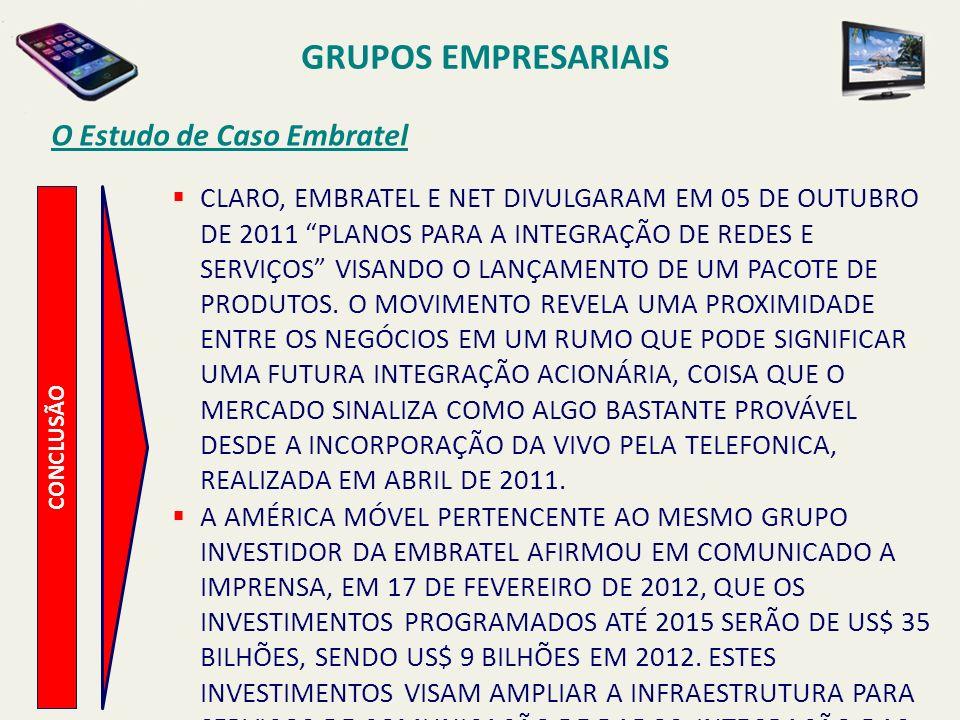 CONCLUSÃO O Estudo de Caso Embratel ENTRETANTO ALGUMAS CONSIDERAÇÕES, A TÍTULO DE RECOMENDAÇÃO SÃO PERTINENTES E CABEM COMO ALERTAS PARA EVITAR DISSABORES FUTUROS: a)A CONDUÇÃO DO PROCESSO DE REORGANIZAÇÃO DO GRUPO (CONVERGÊNCIA CORPORATIVA) TEM CAMINHADO EM UM RITMO BASTANTE LENTO QUANDO COMPARADO A SEUS PRINCIPAIS CONCORRENTES NO MERCADO QUE JÁ CONCLUÍRAM ESTA ETAPA (TELEFONICA/VIVO, OI, TIM/INTELIGTELECOM).