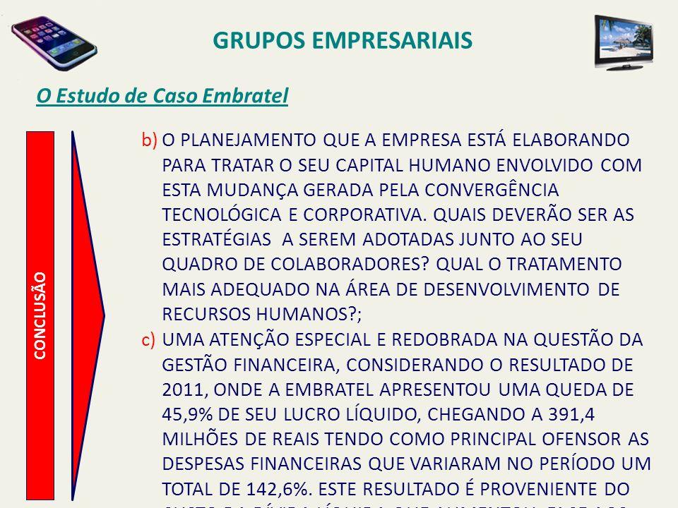 Dados de Receita Líquida – Embratel/Claro/NET GRUPOS EMPRESARIAIS VALORES EM MILHÕES DE REAIS R$