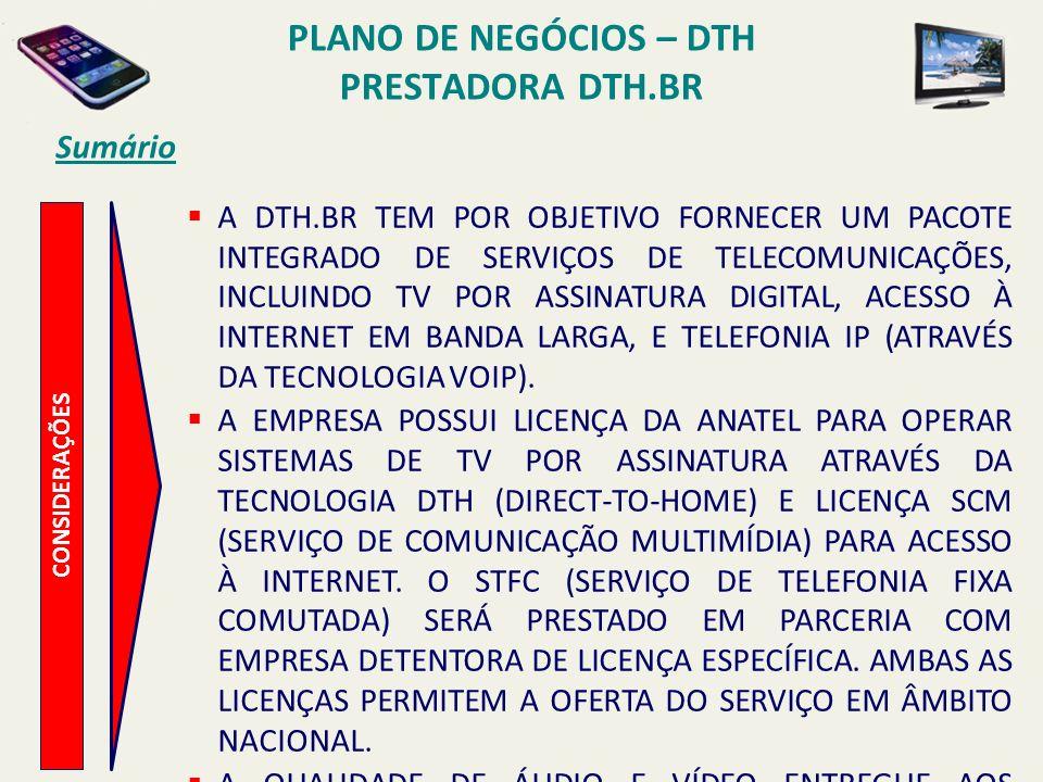 PLANO DE NEGÓCIOS – DTH PRESTADORA DTH.BR Sumário CONSIDERAÇÕES A DTH.BR UTILIZARÁ TODAS AS POSSIBILIDADES PROPORCIONADAS PELA TECNOLOGIA WIMAX, COMPLEMENTANDO SUA OFERTA DE SERVIÇOS DE VÍDEO E TRAZENDO PARA O MERCADO A OFERTA DE SERVIÇOS INTEGRADOS DE VÍDEO, COMUNICAÇÃO DE DADOS E VOZ.