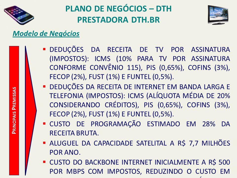 PLANO DE NEGÓCIOS – DTH PRESTADORA DTH.BR Modelo de Negócios P RINCIPAIS P REMISSAS PERCENTUAL DE ASSISTÊNCIA TÉCNICA: 4% SOBRE A BASE DE ASSINANTES COM CUSTO UNITÁRIO DE R$ 60 POR VISITA.