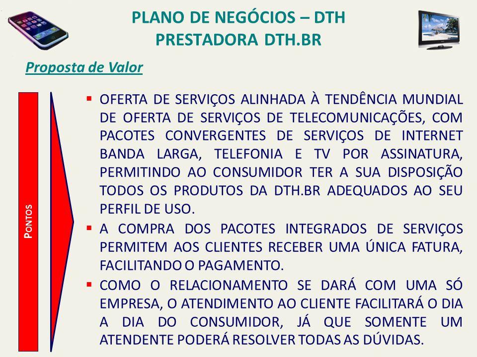PLANO DE NEGÓCIOS – DTH PRESTADORA DTH.BR Proposta de Valor P ONTOS INVESTIMENTOS EM TREINAMENTOS COMERCIAIS, TÉCNICOS E COMPORTAMENTAIS DE TODOS OS PROFISSIONAIS ENVOLVIDOS NO PROCESSO, DESDE INSTALAÇÃO AO ATENDIMENTO, PARA GARANTIR A QUALIDADE E O MELHOR ATENDIMENTO AOS SEUS CLIENTES, UTILIZANDO METODOLOGIAS DIVERSIFICADAS, INCLUINDO TANTO EVENTOS PRESENCIAIS, QUANTO EXPERIENCIAIS E POR ENSINO À DISTÂNCIA.