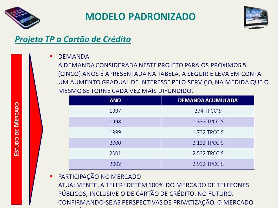 MODELO PADRONIZADO Projeto TP a Cartão de Crédito E STUDO DE M ERCADO COMPETIDORES ATUALMENTE NÃO EXISTEM COMPETIDORES NA PRESTAÇÃO DO SERVIÇO DE TELECOMUNICAÇÕES.