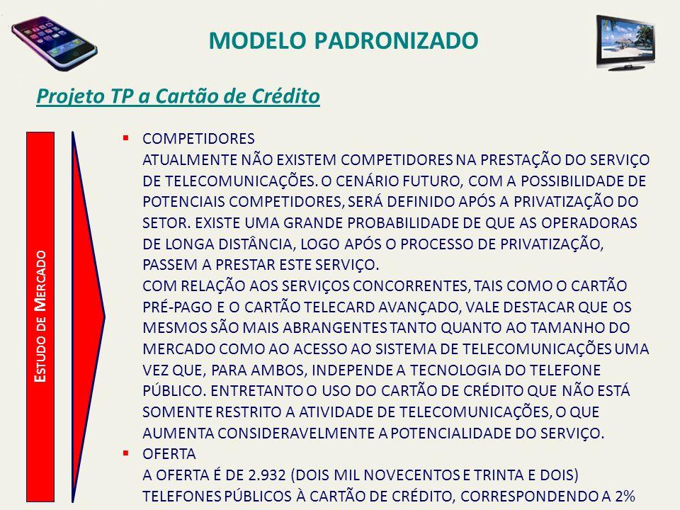 MODELO PADRONIZADO Projeto TP a Cartão de Crédito E STUDO T ÉCNICO ESPECIFICAÇÕES TÉCNICAS APARELHOS HÍBRIDOS, COM LEITORAS DE CARTÃO INDUTIVO E MAGNÉTICO.