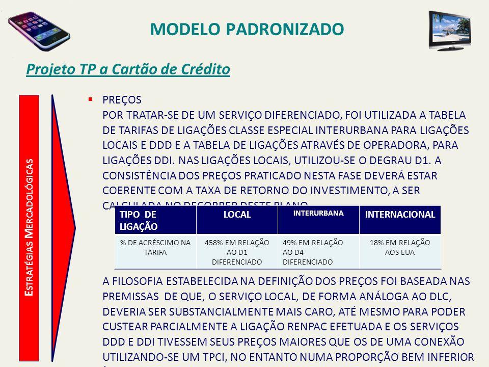 MODELO PADRONIZADO Projeto TP a Cartão de Crédito E STRATÉGIAS M ERCADOLÓGICAS ESTRATÉGIAS PARA A OFERTA LANÇAMENTO DE FORMA PIONEIRA DO SERVIÇO NO ÂMBITO NACIONAL, AVALIANDO SUA REPERCUSSÃO PERANTE A OPINIÃO PÚBLICA.