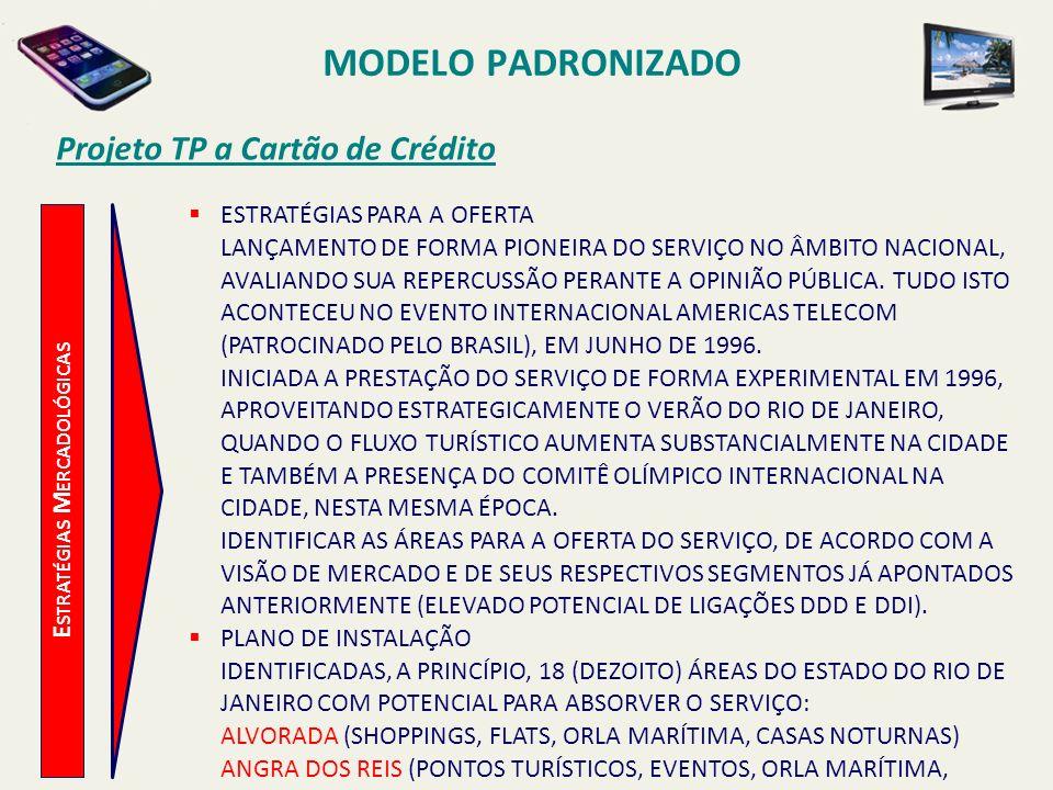 MODELO PADRONIZADO Projeto TP a Cartão de Crédito E STRATÉGIAS M ERCADOLÓGICAS BARRA DA TIJUCA (SHOPPINGS, FACULDADES, ORLA MARÍTIMA, RESTAURANTES) CABO FRIO (HOTÉIS, EVENTOS, SHOPPING, ORLA MARÍTIMA, RESTAURANTES) CAMPOS (EVENTOS, SHOPPING, UNIVERSIDADE) CIDADE NOVA (EVENTOS, CARNAVAL, CENTROS EMPRESARIAIS) ENGENHO DE DENTRO (SHOPPING) IPANEMA (HOTÉIS, SHOPPING, FLATS, CENTROS EMPRESARIAIS, ORLA MARÍTIMA) ITAIPAVA (EVENTOS, SHOPPING, PONTOS TURÍSTICOS) JARDIM CARIOCA (AEROPORTO, SHOPPING, CASAS NOTURNAS, RESTAURANTES) LEBLON (SHOPPING, HOTÉIS, EVENTOS, ORLA MARÍTIMA, CASAS NOTURNAS) LEME (SHOPPING, HOTÉIS, EVENTOS, ORLA MARÍTIMA, PONTOS TURÍSTICOS) NOVA FRIBURGO (EVENTOS, SHOPPING, HOTÉIS, PONTOS TURÍSTICOS, RESTAURANTES) PETRÓPOLIS (SHOPPING, FACULDADES, PONTOS TURÍSTICOS) RIO PARQUE (EVENTOS) SÃO CONRADO (SHOPPING, HOTÉIS, EVENTOS, ORLA MARÍTIMA) TIJUCA (SHOPPINGS, UNIVERSIDADES)