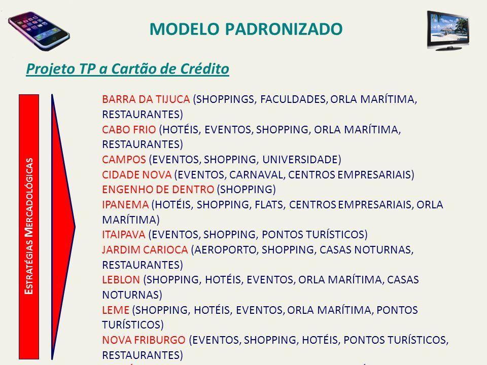 MODELO PADRONIZADO Projeto TP a Cartão de Crédito E STRATÉGIAS M ERCADOLÓGICAS O OBJETIVO GLOBAL E AS METAS A SEREM ATINGIDAS, COM RELAÇÃO A INSTALAÇÃO DE TPCCS PARA OS PRÓXIMOS 5 (CINCO) ANOS, ESTÃO DEFINIDAS NA TABELA A SEGUIR: INSTALAÇÃO DE TELEFONES PÚBLICOS A CARTÃO DE CRÉDITO Més/Ano199719981999200020012002 Janeiro200160 Fevereiro200160 Março20080 Abril200 Maio158 Junho54 Julho20 Agosto20 Setembro20 Outubro60 Novembro100 Dezembro100 TOTAL374958400