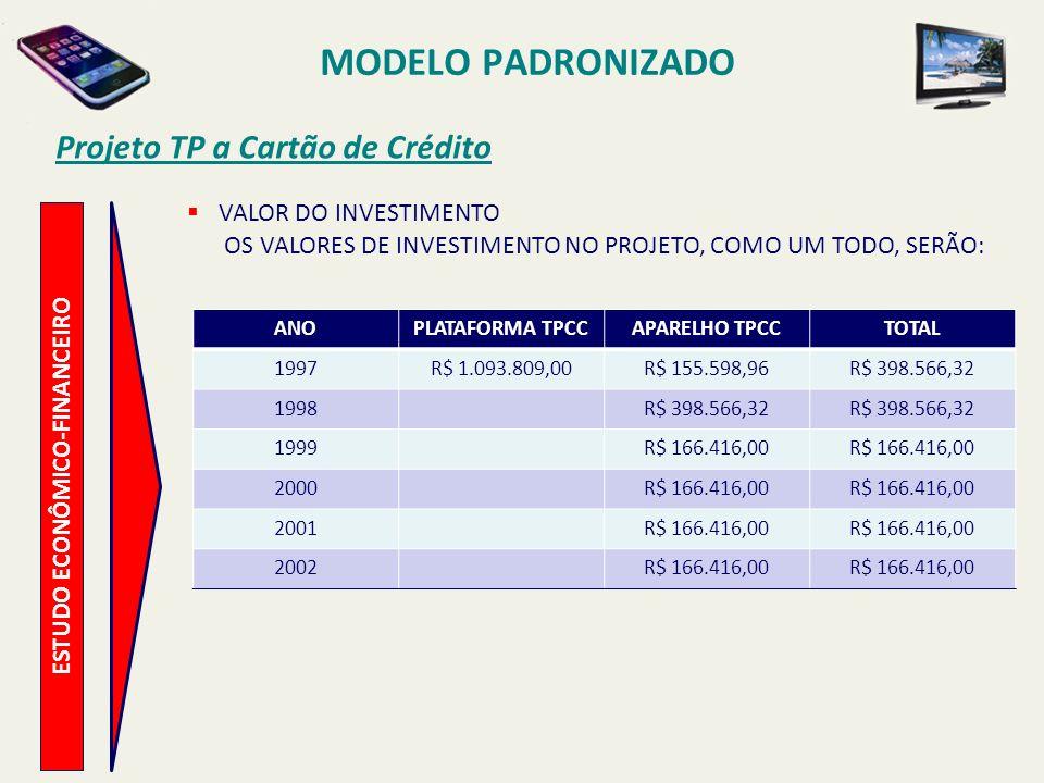 MODELO PADRONIZADO Projeto TP a Cartão de Crédito ESTUDO ECONÔMICO-FINANCEIRO RECEITA A RECEITA APRESENTADA NA TABELA ABAIXO CONSIDERA O PLANO DE INSTALAÇÕES, TENDO COMO RECEITA MÉDIA POR TPCC, R$ 167,84 (CENTO E OITENTA E QUATRO REAIS), SENDO 8% REFERENTE AO TRÁFEGO LOCAL, 32% REFERENTE AO TRÁFEGO DDD E 60% REFERENTE AO TRÁFEGO INTERNACIONAL.