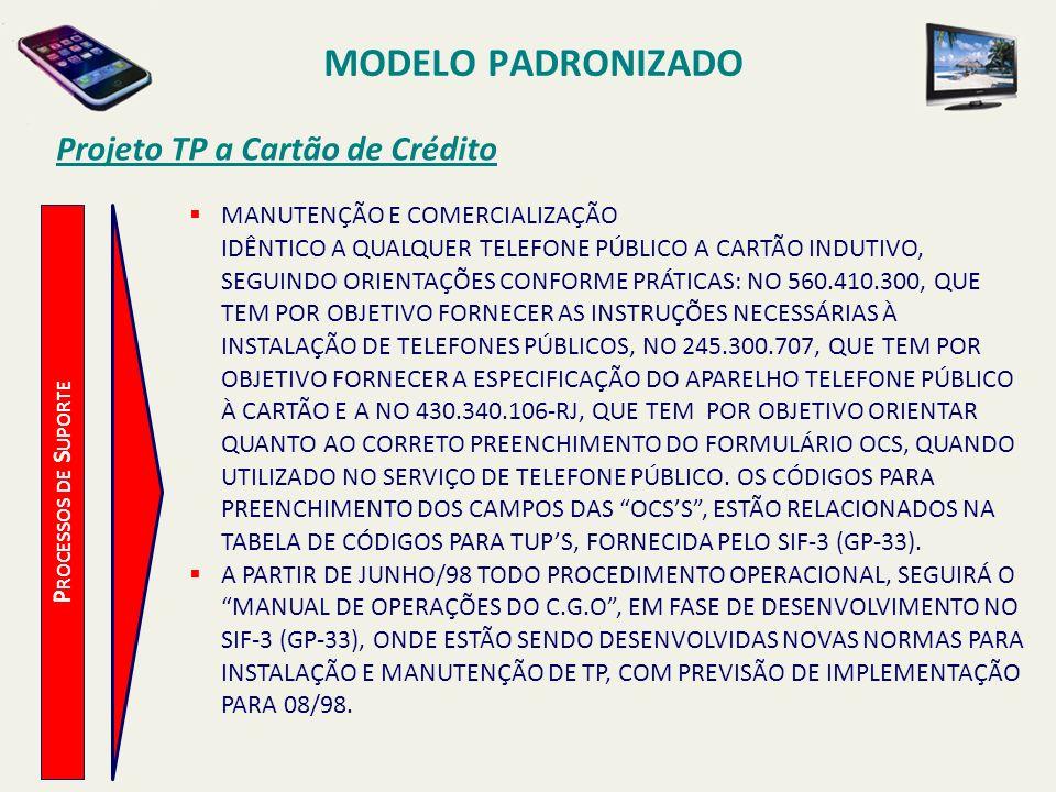 MODELO PADRONIZADO Projeto TP a Cartão de Crédito P ROCESSOS DE S UPORTE OPERAÇÃO O FUNCIONAMENTO COMPLETO DO SISTEMA REQUER OS SEGUINTES COMPONENTES: PLANTA DE TPS A CARTÃO DE INDUTIVO E DE CRÉDITO CENTRAL TELEFÔNICA ZTX-610 REDE DE COMPUTADORES A VALIDAÇÃO DO CARTÃO SERÁ FEITA ATRAVÉS DE CONSULTA ÀS LISTAS NEGRAS DE CARTÕES DE CRÉDITO.