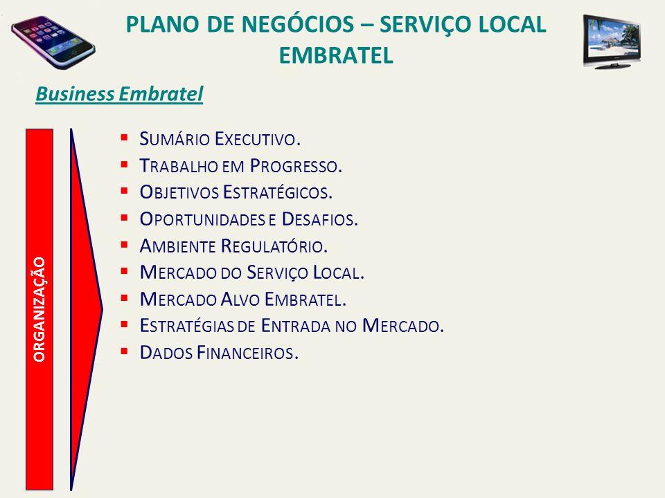 Business Embratel R ETORNOS A TRATIVOS REGRAS DO STFC NÃO OBRIGAM À EMBRATEL A QUALQUER TIPO DE COBERTURA OU REQUISITOS DE TELEDENSIDADE.