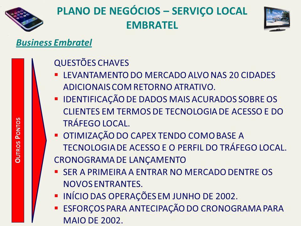 Business Embratel B ENEFÍCIOS E STRATÉGICOS CRESCIMENTO DA RECEITA E DIVERSIFICAÇÃO – OS SERVIÇOS LOCAIS REPRESENTAM 56% DA RECEITA DO MERCADO DE LINHAS CABEADAS NO BRASIL.
