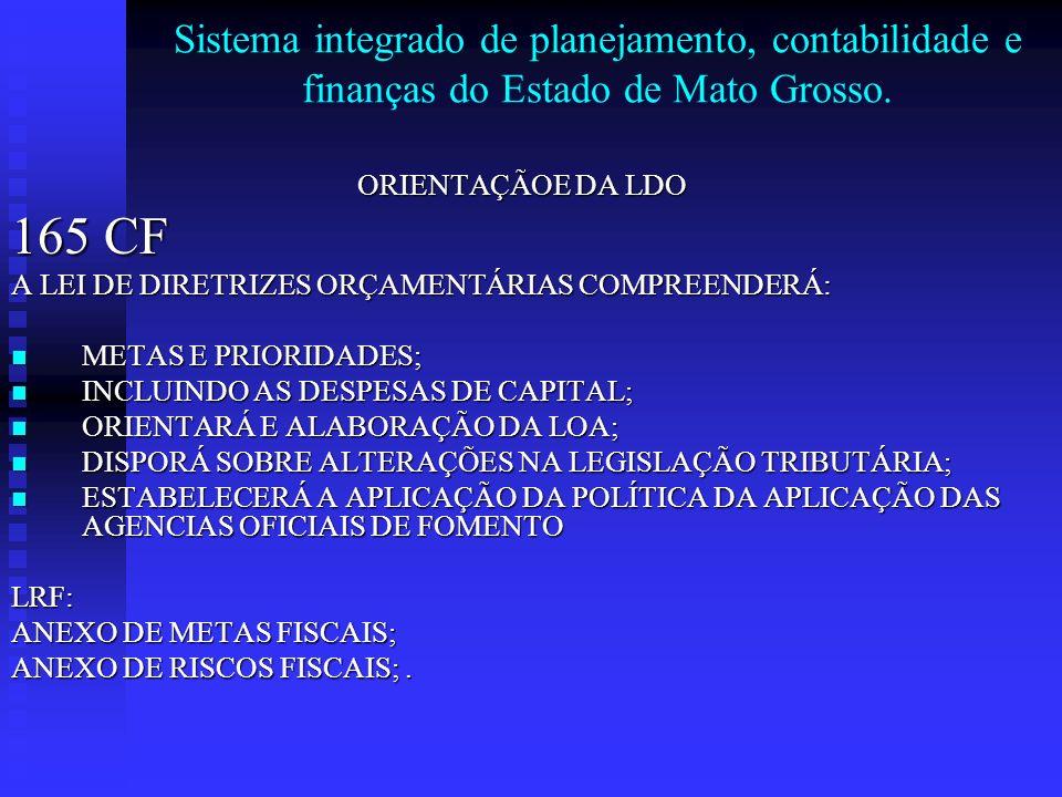 Sistema integrado de planejamento, contabilidade e finanças do Estado de Mato Grosso. ORIENTAÇÃOE DA LDO 165 CF A LEI DE DIRETRIZES ORÇAMENTÁRIAS COMP