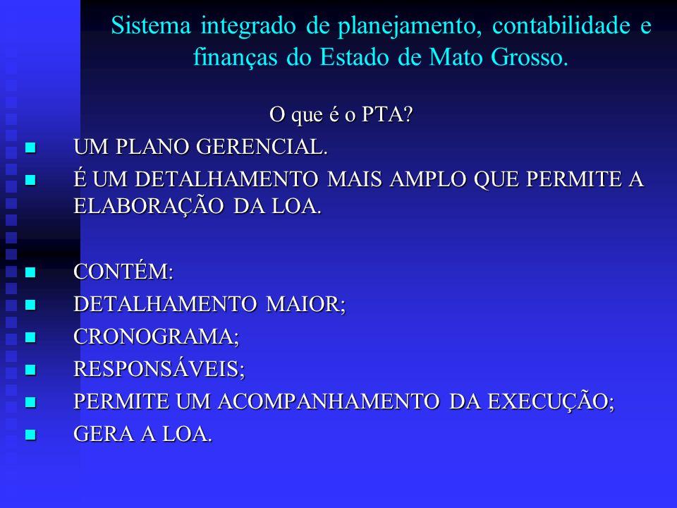 Sistema integrado de planejamento, contabilidade e finanças do Estado de Mato Grosso. O que é o PTA? UM PLANO GERENCIAL. UM PLANO GERENCIAL. É UM DETA