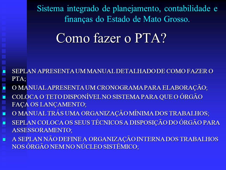 Sistema integrado de planejamento, contabilidade e finanças do Estado de Mato Grosso. Como fazer o PTA? SEPLAN APRESENTA UM MANUAL DETALHADO DE COMO F