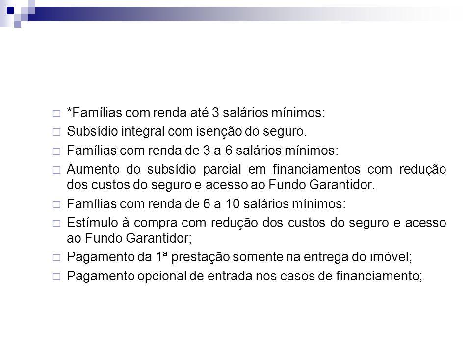 *Famílias com renda até 3 salários mínimos: Subsídio integral com isenção do seguro.