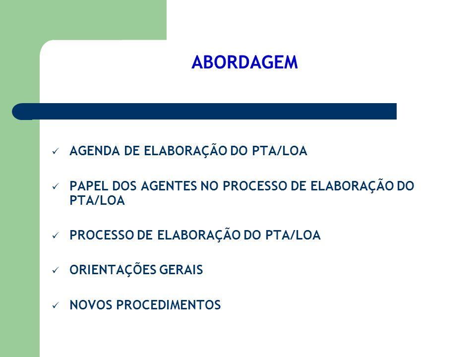ABORDAGEM AGENDA DE ELABORAÇÃO DO PTA/LOA PAPEL DOS AGENTES NO PROCESSO DE ELABORAÇÃO DO PTA/LOA PROCESSO DE ELABORAÇÃO DO PTA/LOA ORIENTAÇÕES GERAIS