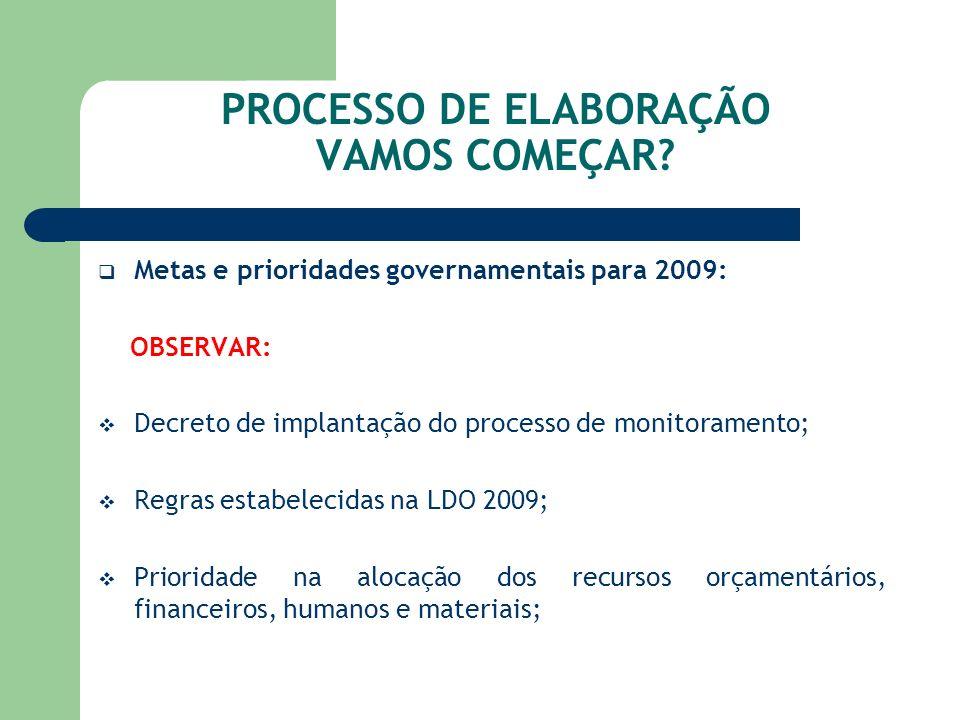 PROCESSO DE ELABORAÇÃO VAMOS COMEÇAR? Metas e prioridades governamentais para 2009: OBSERVAR: Decreto de implantação do processo de monitoramento; Reg
