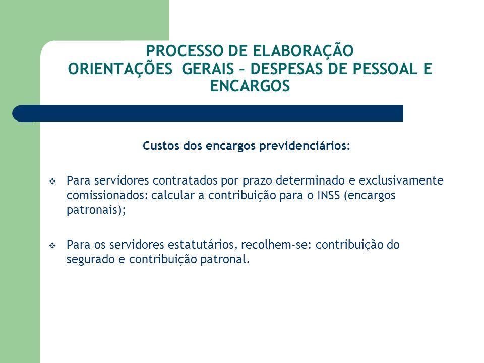 PROCESSO DE ELABORAÇÃO ORIENTAÇÕES GERAIS – DESPESAS DE PESSOAL E ENCARGOS Custos dos encargos previdenciários: Para servidores contratados por prazo