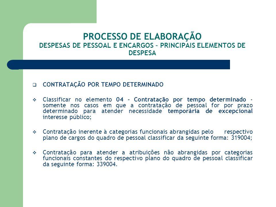 PROCESSO DE ELABORAÇÃO DESPESAS DE PESSOAL E ENCARGOS – PRINCIPAIS ELEMENTOS DE DESPESA CONTRATAÇÃO POR TEMPO DETERMINADO Classificar no elemento 04 -