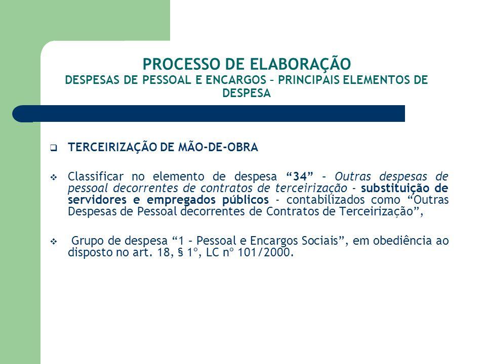 PROCESSO DE ELABORAÇÃO DESPESAS DE PESSOAL E ENCARGOS – PRINCIPAIS ELEMENTOS DE DESPESA TERCEIRIZAÇÃO DE MÃO-DE-OBRA Classificar no elemento de despes