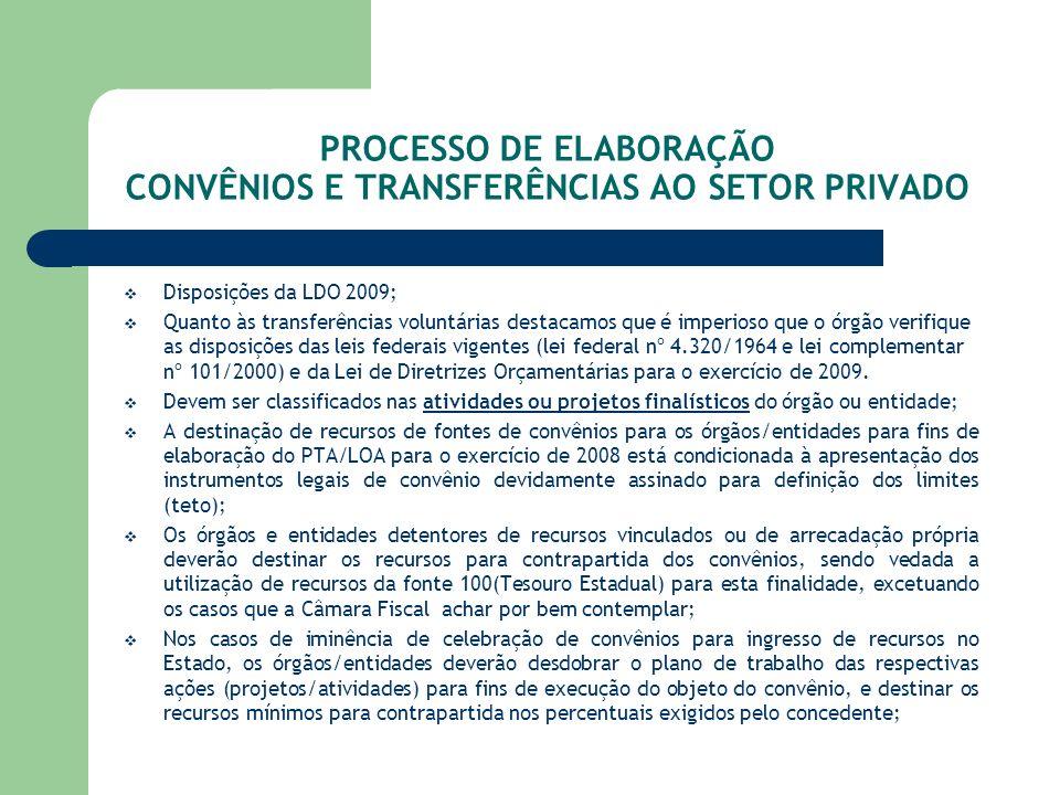 PROCESSO DE ELABORAÇÃO CONVÊNIOS E TRANSFERÊNCIAS AO SETOR PRIVADO Disposições da LDO 2009; Quanto às transferências voluntárias destacamos que é impe