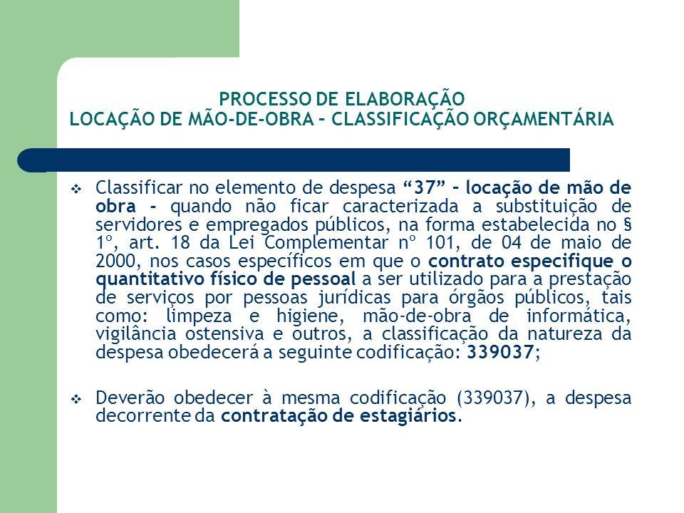 PROCESSO DE ELABORAÇÃO LOCAÇÃO DE MÃO-DE-OBRA – CLASSIFICAÇÃO ORÇAMENTÁRIA Classificar no elemento de despesa 37 – locação de mão de obra - quando não