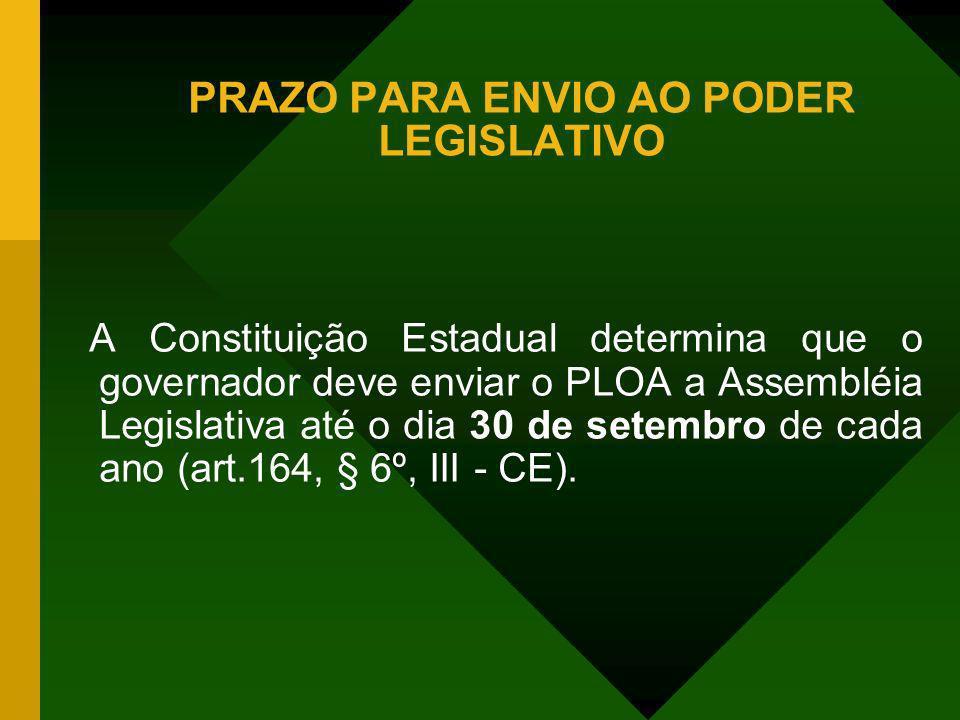 PRAZO PARA ENVIO AO PODER LEGISLATIVO A Constituição Estadual determina que o governador deve enviar o PLOA a Assembléia Legislativa até o dia 30 de s