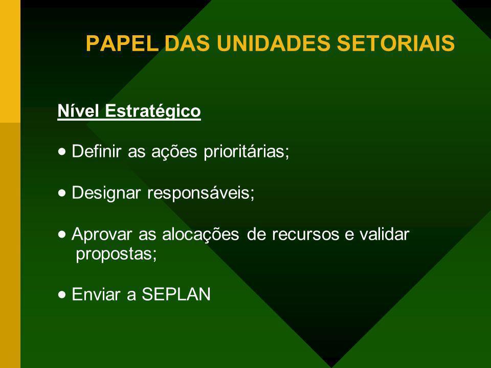 Nível Estratégico Definir as ações prioritárias; Designar responsáveis; Aprovar as alocações de recursos e validar propostas; Enviar a SEPLAN