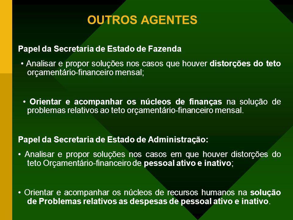OUTROS AGENTES Papel da Secretaria de Estado de Fazenda Analisar e propor soluções nos casos que houver distorções do teto orçamentário-financeiro men