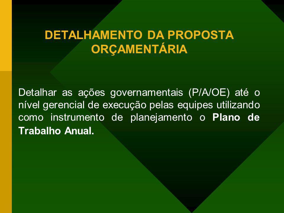 DETALHAMENTO DA PROPOSTA ORÇAMENTÁRIA Detalhar as ações governamentais (P/A/OE) até o nível gerencial de execução pelas equipes utilizando como instru
