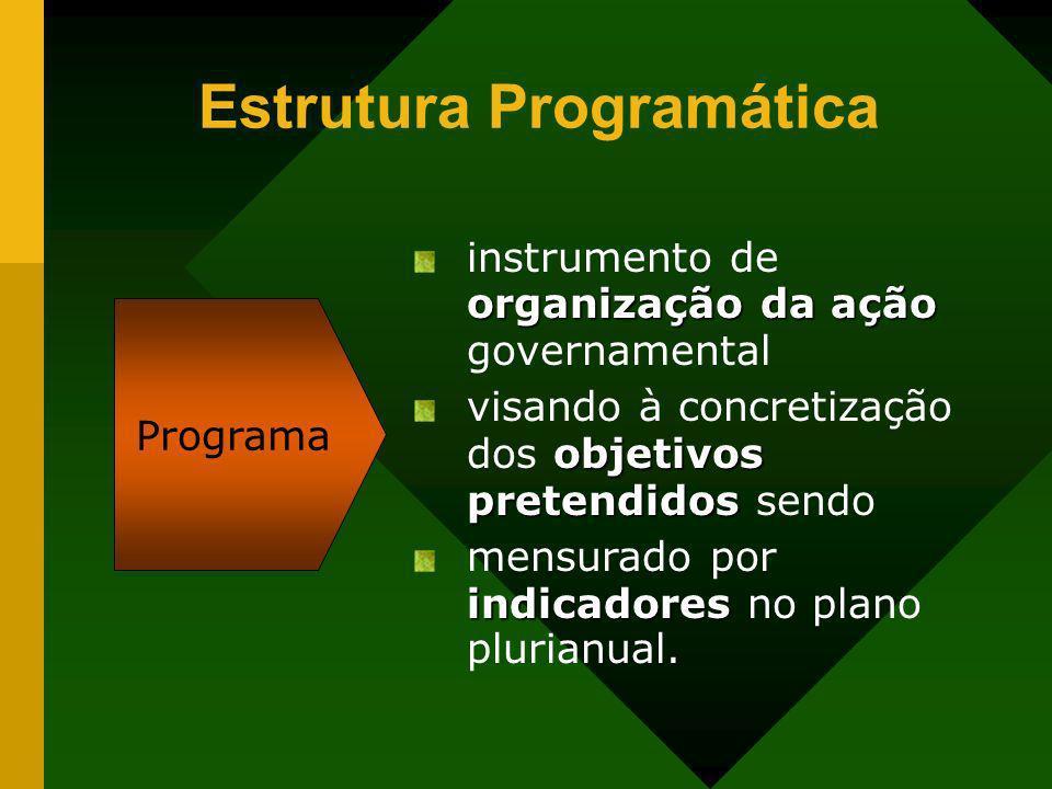 Estrutura Programática Programa organização da ação instrumento de organização da ação governamental objetivos pretendidos visando à concretização dos
