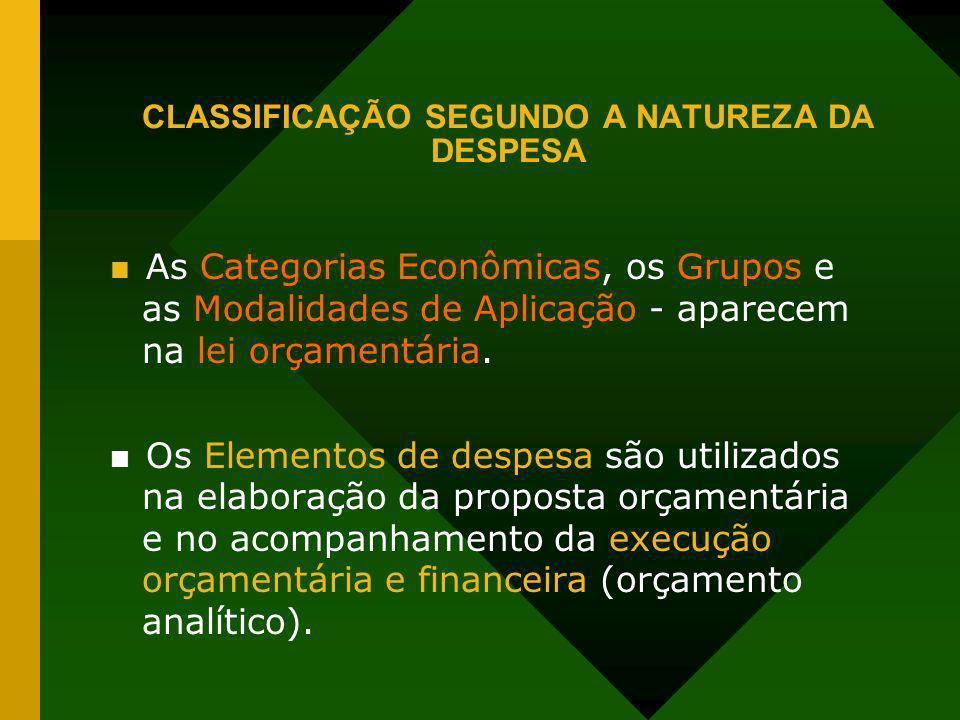 CLASSIFICAÇÃO SEGUNDO A NATUREZA DA DESPESA As Categorias Econômicas, os Grupos e as Modalidades de Aplicação - aparecem na lei orçamentária. Os Eleme