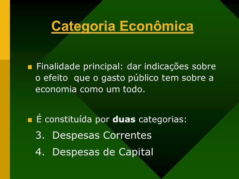 Categoria Econômica Finalidade principal: dar indicações sobre o efeito que o gasto público tem sobre a economia como um todo. É constituída por duas