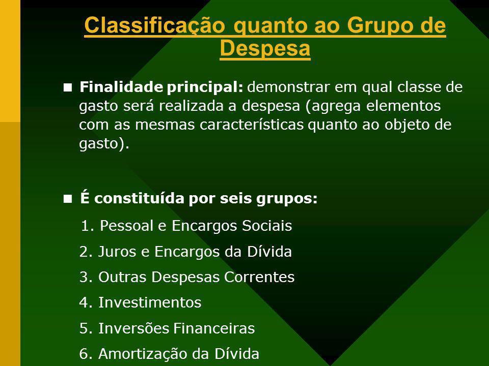 Classificação quanto ao Grupo de Despesa Finalidade principal: demonstrar em qual classe de gasto será realizada a despesa (agrega elementos com as me